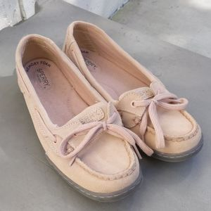 Sperry Soft Pink Leather Boat Flats Round Toe